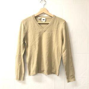 DKNY v-neck medium cream silk wool blend sweater